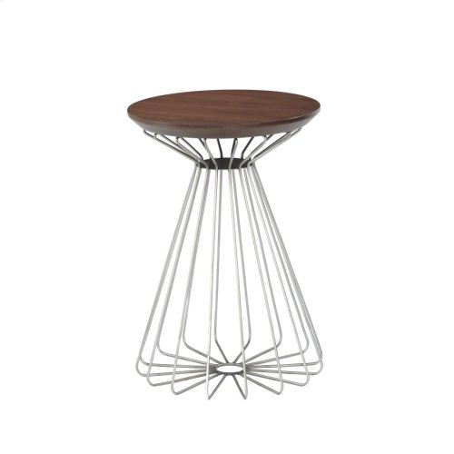 Round End Table-wood Top-metal Base