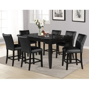 Steve Silver Co.Markina 7 Piece Rectangular Black Marble Top Counter Set(Counter Table & 6 Counter Chairs)
