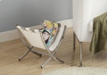 MAGAZINE RACK - WHITE LEATHER-LOOK / CHROME METAL