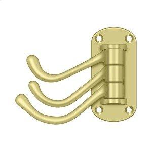 """Triple Swivel Hook, Heavy Duty, 4"""" Projection - Polished Brass"""