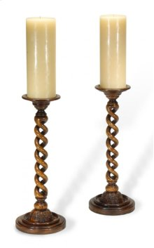 Pair of Open Barley Twist Light Walnut Candlesticks