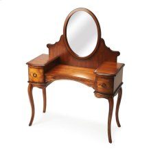 This beautiful vanity will be cherished by any woman! The delicate curve of the cabriole legs blend perfectly with the arched knee hole apron. The oval mirror adds function and completes the style of the vanity. The all wood drawers have antique brass fin
