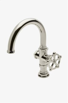 Regulator One Hole Gooseneck Bar Faucet with Metal Wheel Handle STYLE: RGKM02