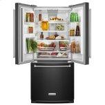 KitchenAid 20 cu. Ft. 30-Inch Width Standard Depth French Door Refrigerator with Interior Dispense - Black Stainless Steel with PrintShield™ Finish
