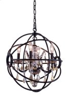 "1130 Geneva Collection Chandelier D:17"" H:19.5"" Lt:4 Dark Bronze Finish (Royal Cut Golden Teak Crystals) Product Image"