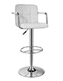 White and Chrome Quilted Barstool