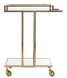 Capri 2 Tier Rectangle Bar Cart - Gold / Mirror