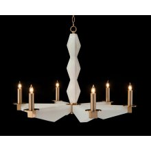 Sculptural Alabaster and Brass Six-Light Chandelier