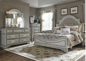 King Uph Bed, Dresser & Mirror, Chest