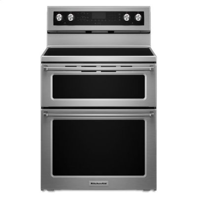 Stainless Steel KitchenAid® 30-Inch 5 Burner Electric Double Oven Convection Range Product Image