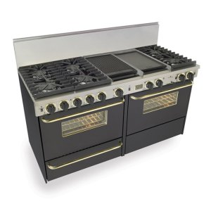 """Five Star60"""" Dual Fuel, Convect, Self Clean, Sealed Burners, Black with Brass"""