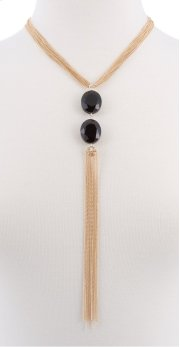 BTQ Gold Tassle with Black Jewels Necklace Product Image
