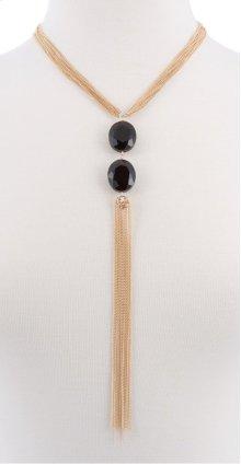 BTQ Gold Tassle with Black Jewels Necklace