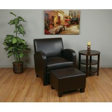 Faux Leather Club Chair With Ottoman (espresso)