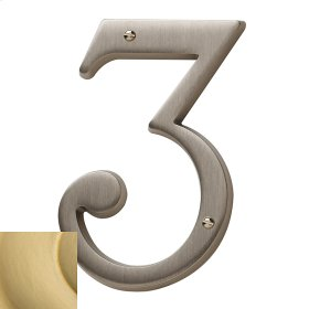 Satin Brass House Number - 3