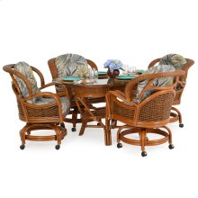 Series 5 Piece Rattan Swivel Tilt Caster Dining Set Oval Table
