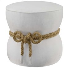 Beat Nautical Rope Upholstered Fabric Ottoman in White