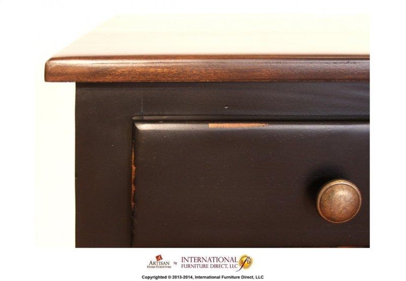 Two Tone Antique Desk W Black Rubbed Finish