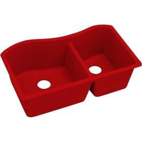 "Elkay Quartz Luxe 32-1/2"" x 20"" x 10"", 60/40 Double Bowl Undermount Sink, Maraschino"