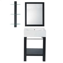 Infusion (tm) Lavatory Console With Rectangular Mirror and Shelf - Black Ash