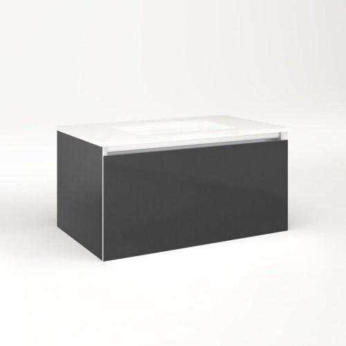 "Cartesian 30-1/8"" X 15"" X 18-3/4"" Single Drawer Vanity In Smoke Screen With Slow-close Plumbing Drawer and No Night Light"