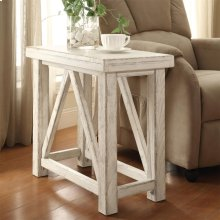 Aberdeen - Chairside Table - Weathered Worn White Finish