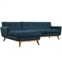 Engage Left-Facing Upholstered Fabric Sectional Sofa in Azure
