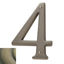 Satin Brass and Black House Number - 4
