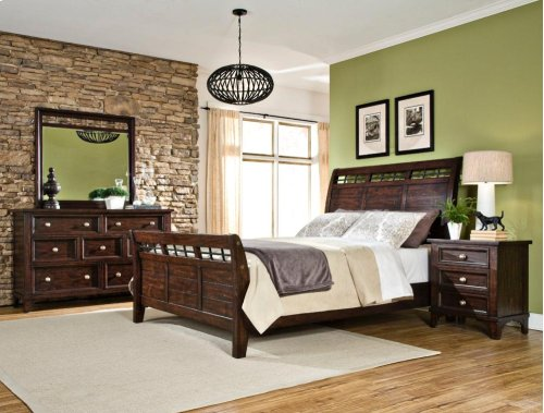 King Sleigh Bed Rails and Slats