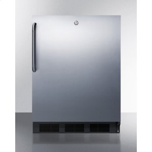SummitADA Compliant Built-in Undercounter All-refrigerator for General Purpose Use, Auto Defrost W/ss Wrapped Door, Towel Bar Handle, Lock, and Black Cabinet