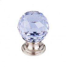 Light Blue Crystal Knob 1 1/8 Inch - Brushed Satin Nickel