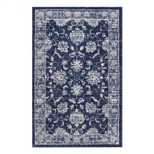 Kazia Distressed Floral Lattice 5x8 Area Rug in Dark Blue and Ivory