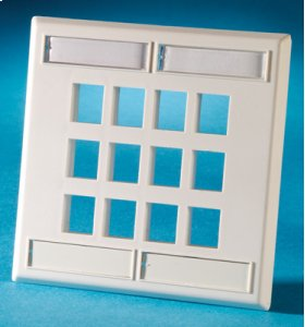 Dual gang plastic faceplate, holds twelve Keystone jacks or modules, Wiremold Ivory