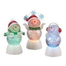 Lighted LED Snowman Mini Shimmer (3 asstd).