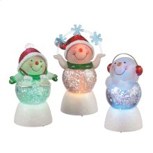 Lighted LED Snowman Mini Shimmer (3 asstd).