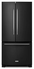22 Cu. Ft. 33-Inch Width Standard Depth French Door Refrigerator with Interior Dispenser - Black Product Image