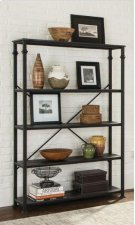 """FINISH: DARK GREY / BLACK-4 shelf bookcase-Constructed with steel and MDF with ash veneer-Available in 36.25 X 14.5 X 74.25""""H (#801439) Product Image"""