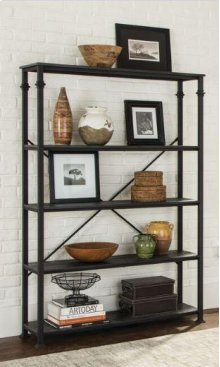 "- Bookcase with four shelves finished in dark grey and frame finished in black- Constructed with steel, MDF, and ash veneer- Also available in 36""W (#801439)"