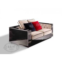 A&X Bellagio Transitional Black Crocodile and Beige Fabric Loveseat