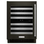"Kitchenaid24"" Wine Cellar with Glass Door and Metal-Front Racks - Black Stainless Steel with PrintShield(TM) Finish"