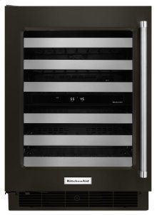 "24"" Wine Cellar with Glass Door and Metal-Front Racks - Black Stainless"