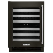 """24"""" Wine Cellar with Glass Door and Metal-Front Racks - Black Stainless Steel with PrintShield™ Finish"""