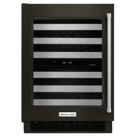 "24"" Wine Cellar with Glass Door and Metal-Front Racks - Black Stainless Steel with PrintShield™ Finish"