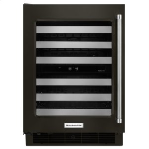 "Kitchenaid24"" Wine Cellar with Glass Door and Metal-Front Racks - Black Stainless Steel with PrintShield™ Finish"