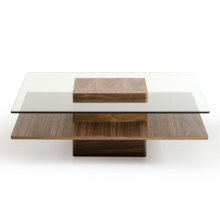 Modrest Clarion Modern Walnut and Glass Coffee Table