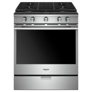 Whirlpool(R) 5.8 Cu. Ft. Smart Contemporary Handle Slide-in Gas Range with EZ-2-Lift(TM) Hinged Cast-iron Grates - Fingerprint Resistant Stainless Steel - FINGERPRINT RESISTANT STAINLESS STEEL
