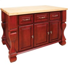 "52-5/8"" x 32-3/8"" x 35-1/4"" Brilliant red furniture style kitchen island with ample cabinet storage as well as opening shelf on the reverse."