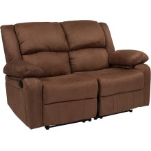 Harmony Series Chocolate Brown Microfiber Loveseat with Two Built-In Recliners