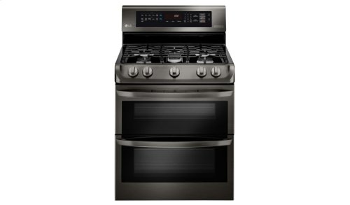 LG Black Stainless Steel Series 6.9 cu. ft. Gas Double Oven Range with ProBake Convection®, EasyClean® and Gliding Rack