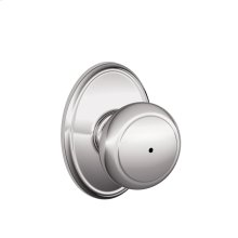 Andover Knob with Wakefield Style trim Bed & Bath Lock - Bright Chrome